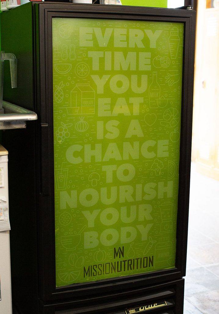 Sign reading every time you eat is a chance to nourish your body