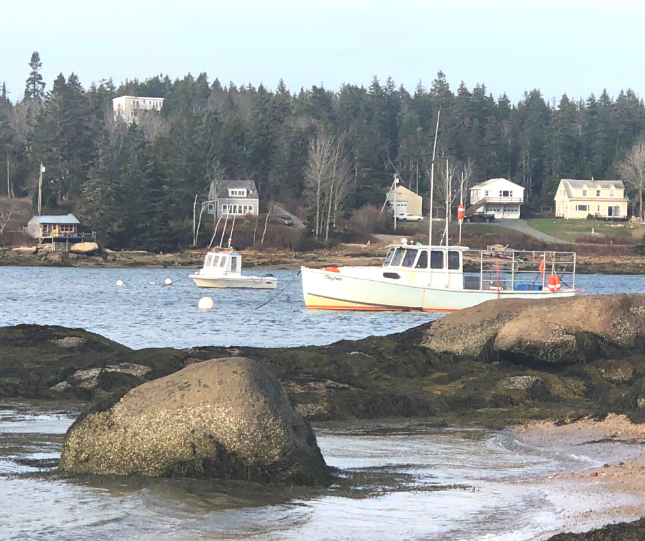 Ship in Deer Isle Harbor