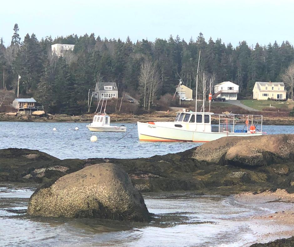 Ship in Deer Isle Harbor