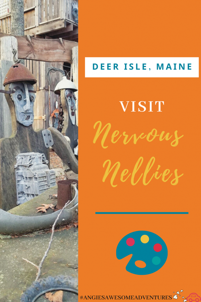 Visit Nervous Nellies Pin with a sculpture to the left side