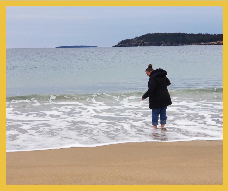 Brandee in the ocean at Acadia National Park