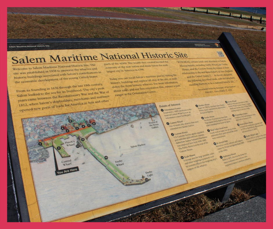 Sign for the Salem Maritime Historical Site
